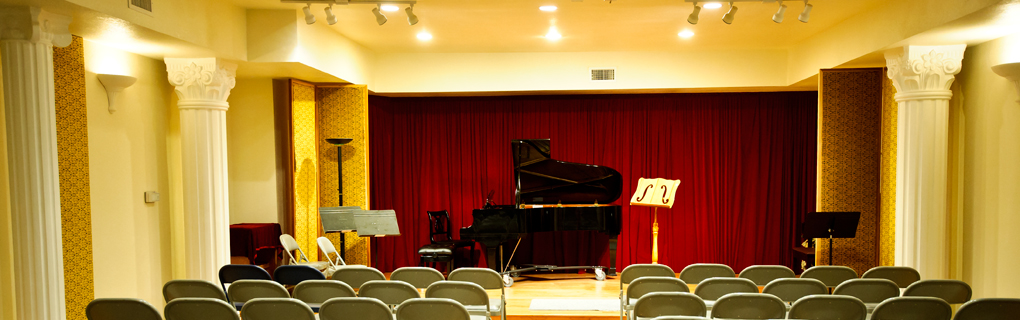 Satori Hall at AMAC Violin Center where the recitals and contests take place. The hall rentals are available.